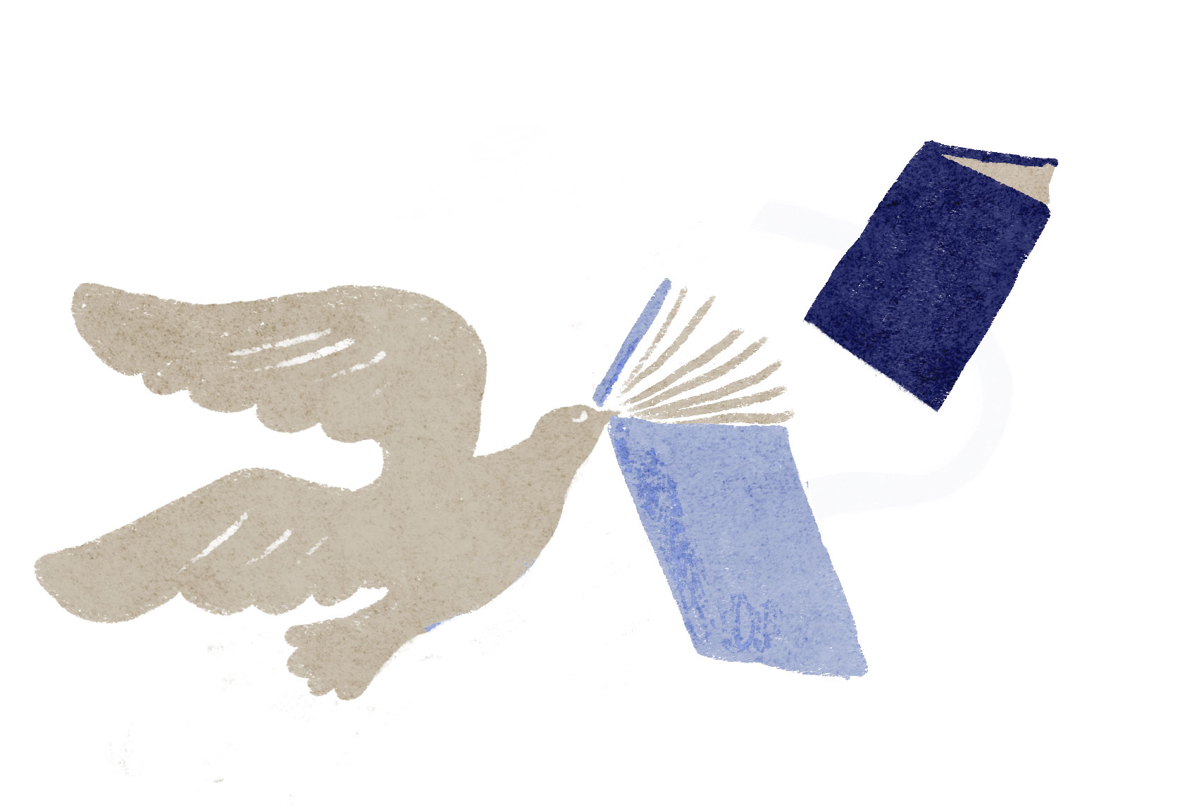 Illustration av duva med böcker.