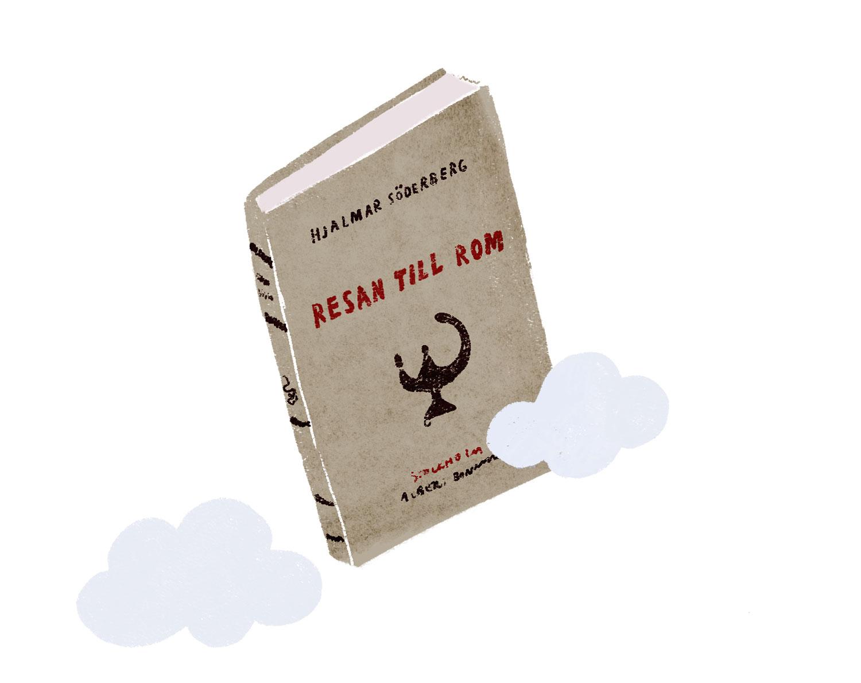 Illustration av Hjalmar Söderbergs bok Resan till Rom.